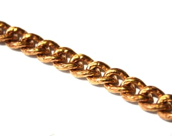 2 feet - Vintage Chain Texured Copper - 8 x 11mm - Chunky Chain Necklace