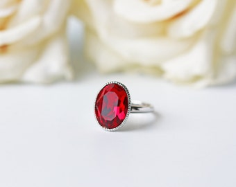 Ruby Red Crystal Silver Ring Swarovski Crystal Oval Siam Red Adjustable Ring