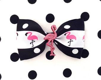 Flamingo Sparkly Delight Polka Dot Hair Bow - Black - Retro - Rockabilly - 50s