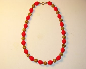 Vintage Red Glass Brass Bead Necklace (N-1-2)