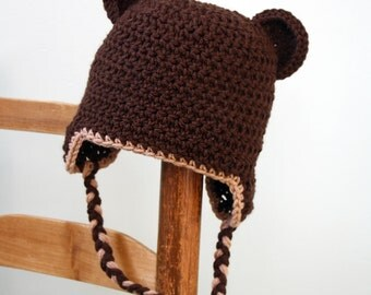 Brown Bear Ear Flap Hat, Bear Ear Flap Hat, Animal Hat, Crochet Beanie, Halloween Costume, Winter Hat, Photography Prop, Children's Clothing