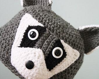 Raccoon Hat, Animal Hat, Crochet Beanie, Winter Hat, Halloween Costume, Children's Gift, Boys, Girls, Men, Women, Clothing, Racoon Hat