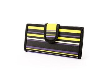 Two fold Wallet. Water resistant. Stripes in green, black, purple, teal. 6 card slots, 2 wide slots, 2 zipper pockets.