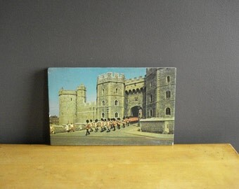 Queen's Guard at Windsor Castle - Vintage England Souvenir Photo on Wood Block