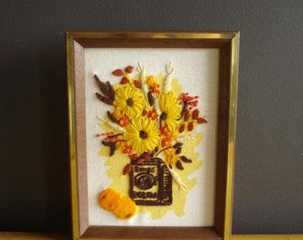 Oranges and Flowers - Vintage Crewel Mini Art for Your Wall