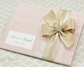 Pink Wedding Guest Book Champagne Ribbon Custom Made in your Colors