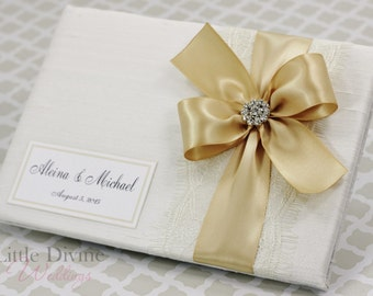 Wedding Guest Book Off White Champagne Gold Custom Made in your Colors