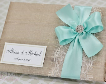 Champagne Wedding Guest Book Aqua Blue Ribbon Custom Made