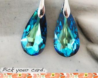 Lillian - Swarovski Bermuda Blue Faceted Teardrop Crystal Earrings, Gifts for her, Something blue, wedding, sparkly bridal earrings
