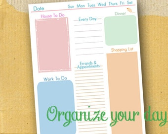 Daily To Do / Printable / Planner Page / Form / DIY