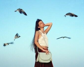 Tooled Leather purse.Piñata Pastel Green.