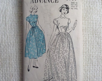 Vintage 1950's Teen Age Gown, Dress sewing pattern.   Advance.  Teen Size 14.   No. 5169.