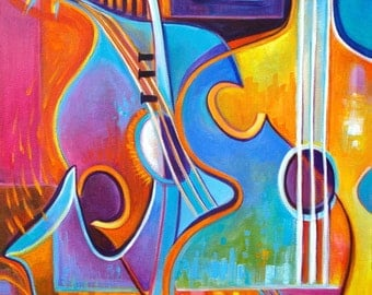 Abstract Painting  Original Acrylic on canvas Modern artwork The Soul of Music Marlina Vera Fine Art Gallery Expressionist fauvism sale
