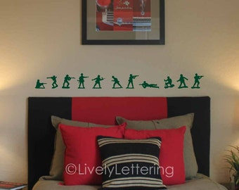 Army Men wall decals, set of 11 silhouette figures, Toy Soldier decals, boy bedroom, Army decor, Military bedroom, vinyl lettering (W00315)
