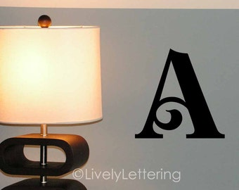 "12"" Letter wall decal, Single Initial wall decal, Decorative letter for bedroom, vinyl lettering (LL0980)"
