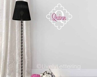 Girl wall decal, Personalized Name in Diamond Frame decal, cursive decal, girl bedroom wall decal, nursery decor, vinyl lettering (LL0926)