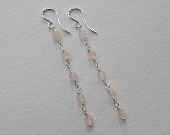 Rose Quartz Long Earrings - Sterling Silver Beadwork Earrings Dangle Earrings Beaded Rosary Earrings