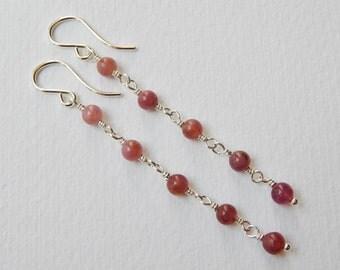 Pink Tourmaline Earrings - Long Beaded Dangle Earrings in Sterling Silver Beadwork Earrings Rosary Earrings