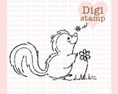 Sweet Skunkie Digital Stamp for Card Making, Paper Crafts, Scrapbooking, Stickers, Coloring Pages, Crafts, Cookies