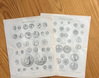 1894 coin currency prints original antique money lithographs - international coinage set of two prints