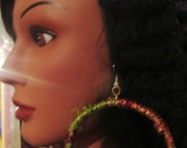 Natural Banana Silk Yarn Large Hoop Earrings