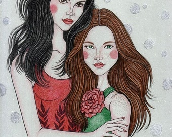 Rose Red and Snow White-Original Fine Art Drawing-pencils,ink and graphite, fairytale inspiration
