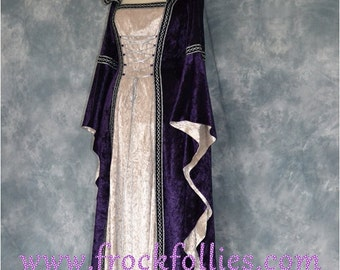 """Medieval Gown,Gothic Dress,Renaissance Gown,Pagan Dress,Hand Fasting Gown,Halloween Dress,  Hooded Gown,Robe Medievale,""""Fenella"""""""