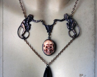 necklace - Monkeys & Skull - vanitas, skull, monkey, gothic, mourning, momento mori, victorian, cabinet of curiosity, ooak