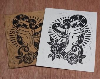 Snake Charmer -  Block Print