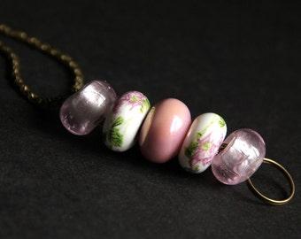 Badge Holder. Pink Badge Leash. Beaded Lanyard. Badge Lanyard. Nurse Lanyard. Id Lanyard. Handmade Badge Necklace. Lampwork Glass Lanyard.