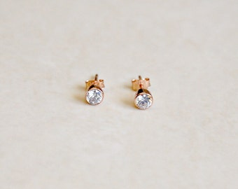 Rose gold diamond stud earrings, pink gold 4mm or 6mm, cz cubic zirconia, minimal, simple, classic jewelry, womens gift, Marley