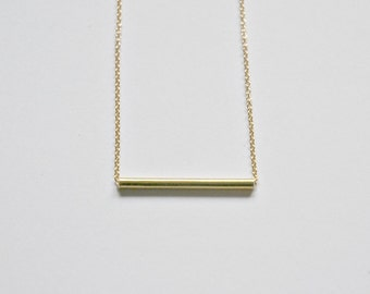Bar necklace, sterling silver or gold fill, skinny silver bar slider, thin gold bar, tiny horizontal, simple layering, modern jewelry, Britt