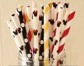 Paper Straws, 50 Mickey / Minnie Paper Straws Party Mix, Mickey Party, Minnie Party Straws,  Paper Drinking Straws, Striped Paper Straws,