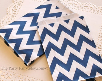 Chevron Paper Bags, 20 Navy Chevron Treat Bags, Chevron Candy Bag, Navy Blue Paper Bags, Nautical Party Favor Bags, Party Bags, Baby Shower