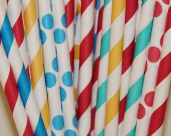 Paper Straws, 50 CARNIVAL Party Paper Straws, Paper Drinking Straws, Striped Straws, Circus Birthday, Carnival Theme Party, Straw Flags