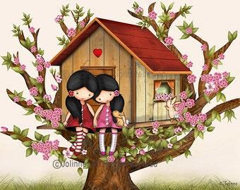Our Tree House - Childrens wall art illustration, sisters wall art, baby girl nursery art, girls room decor, twin art, kids wall art, twins