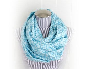 Quatrefoil Flannel Infinity Scarf, Aqua and Medium Blue Geometric Pattern