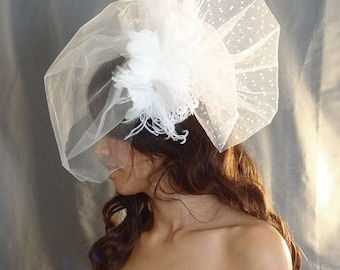 Tulle Blusher Veil with Swiss Dot, Feather Fascinator, Ivory Veil, Wedding Veil