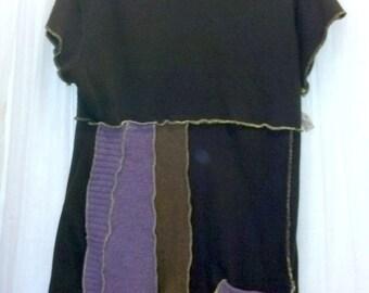 XXL Brown Purple Sweater Dress panels OOAK Recycled...reuse, eco-friendly, boho, hippie, patchwork, wearable art