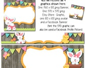 Spring Easter DIY Blank Facebook Timeline Set - Spring Day Easter Set - Customize for your Facebook Business or Personal Page