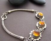 Balinese Silver Bracelet - Vintage Amber Cabochon Sterling Silver Link Bracelet