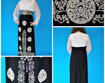 Vintage 1970s Retro East Indian Inspired Maxi With Seed Bead Decoration