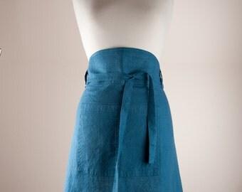 Linen Apron, Chef Apron, Half Apron. 100% Linen. Teal Blue color.