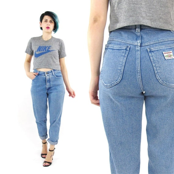 80s High Waist Jeans Tapered Leg Mom Jeans Medium Light Acid