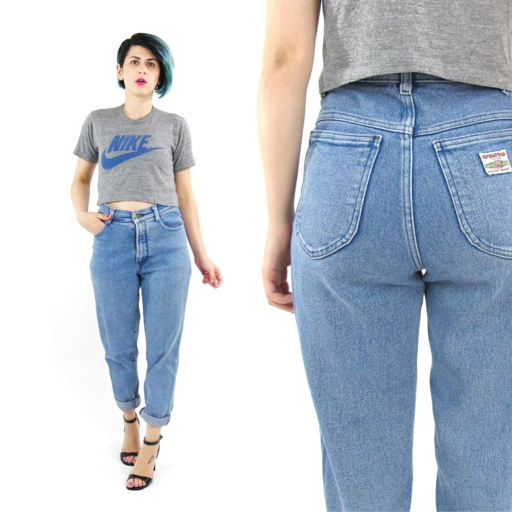 80s high waist jeans tapered leg mom jeans medium light acid. Black Bedroom Furniture Sets. Home Design Ideas