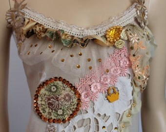 Boho Chic  Shabby chic Romantic   Beaded  Top Blouse  - Textile Collage -Wearable Art - Size M L - Ready to ship