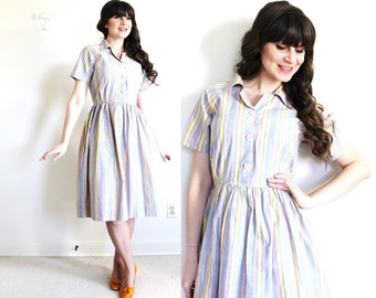 50s Dress / 1950s Dress / 50s Pastel Striped Day Dress