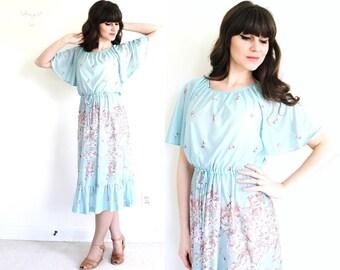 70s Dress / 1970s Dress / 70s Floral Boho Dress