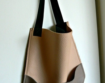 Color Block Full Grain Italian Leather Shopper Tote with front Pocket in Dusty Rose, Taupe, and Charcoal Black