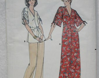 "70's  Vintage Butterick Sewing Pattern 5981 Fast and Easy Dress Tunic Pants, Sz Small (8-10) Bust 31.5"" - 32.5"""